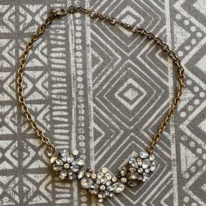J.Crew Factory Crystal Cluster Gold Necklace